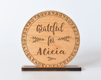 Personalized Thanksgiving Place Setting Wood. Grateful Thankful Table Decoration for Thanksgiving.