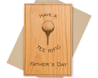 Fathers Day Golf Card for Him, for Dad, for Grandfather. Golf Gifts for Men Wood Card.