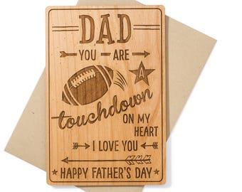 Football Dad Fathers Day Card. Sports Fan Dad Wood Card. Birthday Card for Dad for Him.