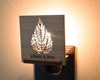 Autumn Decor Interchangeable Night Light Plug In. Fall Decorations Nightlight.