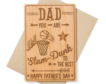 Sports Dad Basketball Father's Day Card. Slam Dunk Dad Wood Card. Birthday Card for Dad for Him.