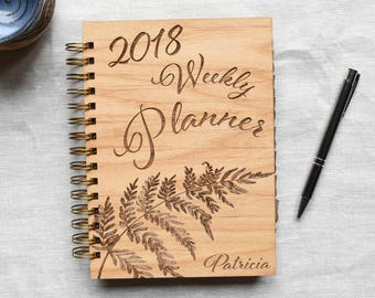 Personalized Fern 2019 Weekly Planner Notebook with Tabs. A5 Weekly Spiral Planner Cover Wood. Goals Planner Gift for Her.