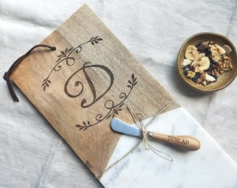 Personalized Monogram Marble Wood Cheese Board with Knife