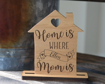 Home is Where Mom Is Card. Personalized Table Place Card Gift for Mom.
