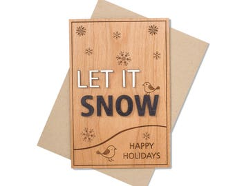 Let It Snow 3D Black and White Christmas Card. Wood Christmas Card. Let it Snow Card.