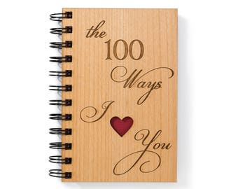 Love Diary Writing Journal Wood. Wedding Gift for Couples. 100 Ways I Love You Spiral Notebook. Wood Anniversary Gift for Him, for Her.