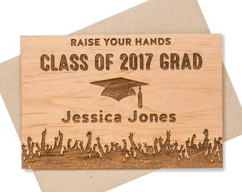 2018 Personalized Graduation Card. High School Graduation Wood Card. Class of 2018 Congrats Cards
