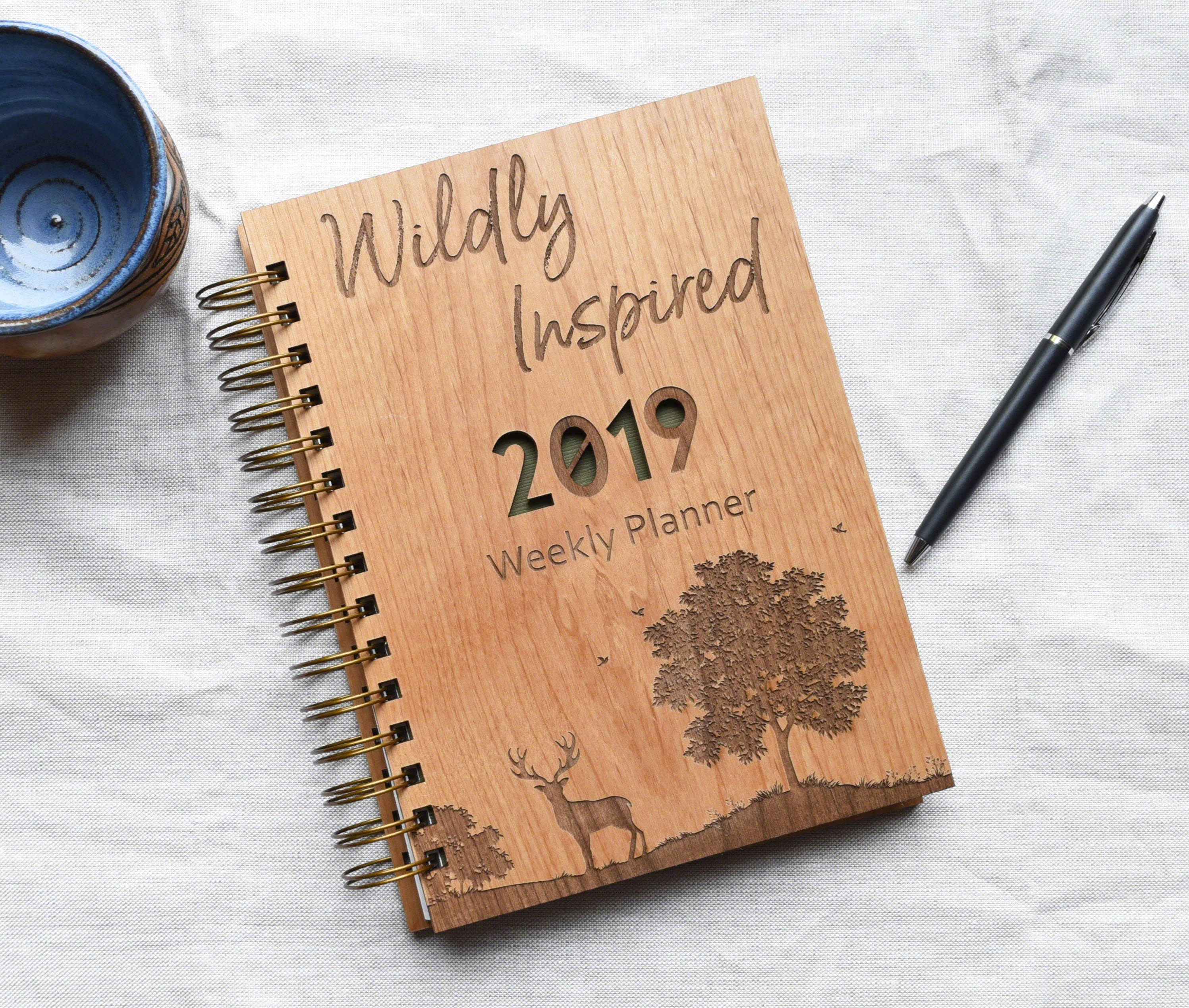 2019 Personalized Woodland Deer Weekly Planner with Tabs with