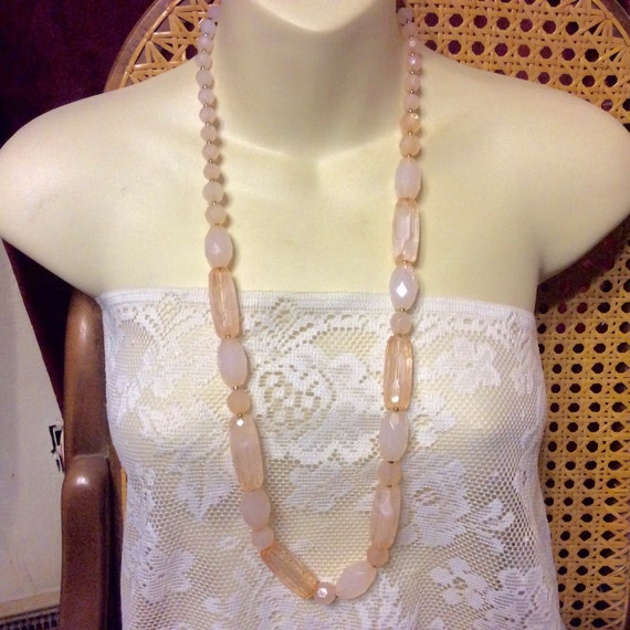 Pink marbled acrylic faceted beads vintage 1960's