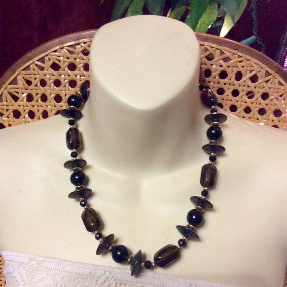 Vintage 1960's marbled acrylic black beads spacesh