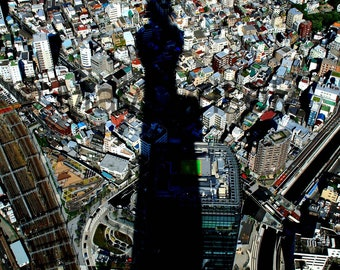 Tokyo Photography, Urban wall deco, Urban scene, vibrant city art, Tokyo style, blues and greys deco, metropol wall art, city print, Japan