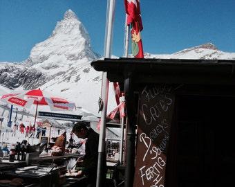 Ski Photography, mountain scene, nature wall decor, Zermatt wall art, Swiss style, vibrant snow art, Zermatt print, blues and greys deco, GO