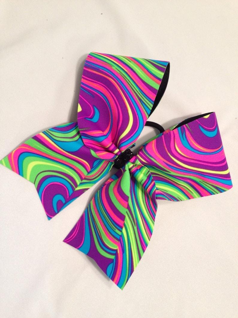 Bright neon cheer bow