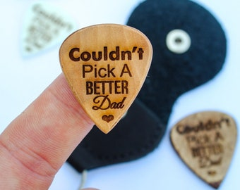 Engraved Dad Guitar Pick with Leather Pouch, Pick A Better Dad Gift, Christmas Gifts, Engraved Dad Gift, Just for Dad,