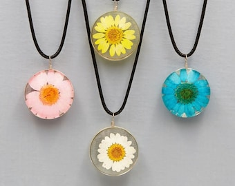 Real Dandelion & Sunflower Necklace in Glass Ball