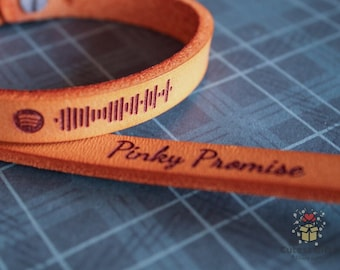 Engraved Promise Message Couples Leather Bracelet | Spotify Link | Engraved | Couples Bracelet | Personalized Spotify | Modern Mixtape