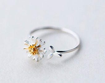 Adjustable Open Daisy Flower Ring S925 Sterling Silver Country, Simple Outfit, Fashion Ring, Statement