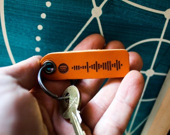 Custom Engraved Spotify Leather Keychain, Spotify Scan Code, Music Gift, Boyfriend, Relationship Goals,