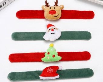 Fuzzy Christmas Pop It Slap Bracelet, 4 Styles, Santa, Reindeer, Christmas tree
