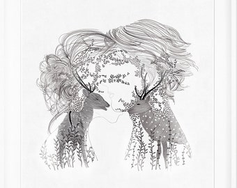 your dream is my dream, lovers  illustration ,print of orginal drawing