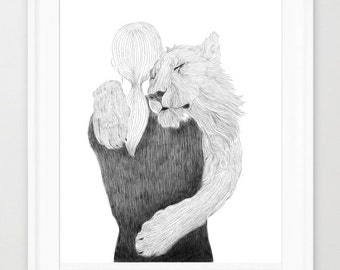 Girl and Lion line art,print of orginal drawing