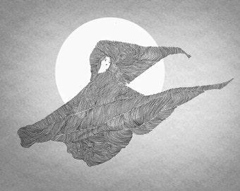 Loie Fuller is Dancing, line art, print of orginal drawing