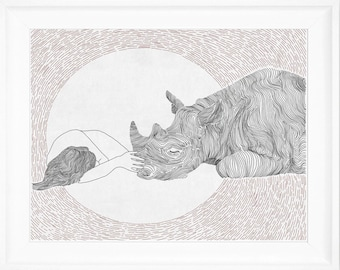 Friendship ,girl and rhino,  line art, print of orginal drawing