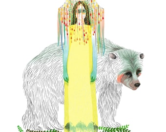 Yellow Queen and Bear art print