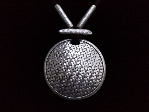 Chunky Silver Necklace Primitive Style in Vintage