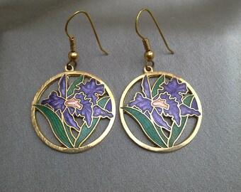 Lavender Lily Enamel Pierced Earrings: Vintage Earrings