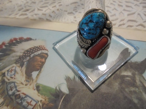 Sterling Silver Old Pawn Turquoise / Coral Man's R