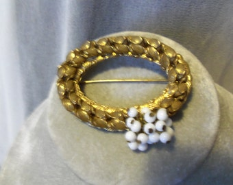 Sale--Early  Miriam Haskell Signed   Vintage goldtone/white beadded cluster brooch  vintage signed