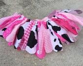Shabby chic Cowgirl fabric tutu  - Western Tutu - pink cowgirl tutu -  cow Tutu, shabby chic fabric tutu skirt - Choose your size