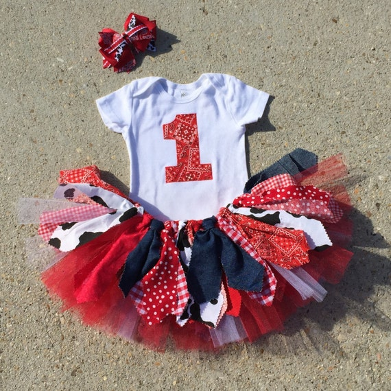 Red Cowgirl Birthday Outfit Tutu