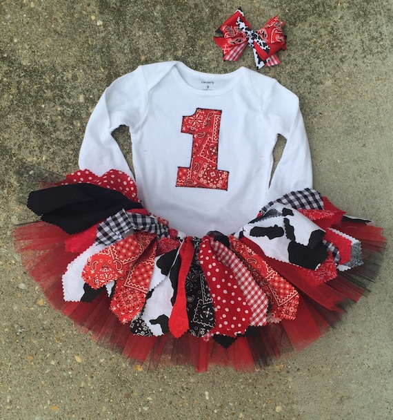 Black And Red Cowgirl Birthday Outfit Tutu
