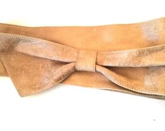 80s Vintage Leather Obi Sash Bow Belt