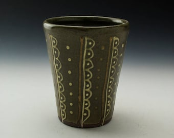 Stoneware Tumbler - 16oz- Celadon with Curves & Dots