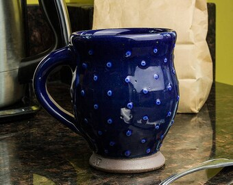 Mug - Deep Blue with Polka Dots