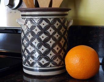 Circle, Flowers & Stars Crock - Kitchen Utensil Holder