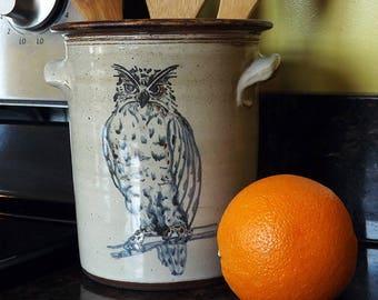 Owl Crock - Kitchen Utensil Holder