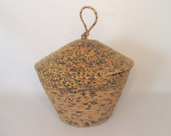 Coiled Basket with Dome Lid, Knotted Knot Knob, Vessel, Container, Leopard Print Fabric Wrapped Clothesline/Rope, Machine Stitched (BL2046)