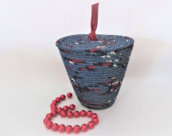 Ethnic Print Fabric Wrapped Clothesline Rope, Machine Stitched Coiled Basket, Flat Lid, Red Leather Stem Container, Vessel, Storage (BL3462)