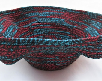 Handmade Multi-Color Fabric Wrapped Hand Coiled Machine Stitched Teal Red Black Boho Medium Basket (B2763)