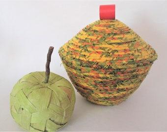Handmade Fabric Print Coiled Basket, Rope/Clothesline Basket, Round Basket & Lid, Boho/African Basket, Vessel, Container, Storage (BL3107)