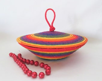 Handmade Rainbow Color Fabric Wrapped Clothesline Rope, Hand Coiled, Machine Stitched  Lidded Basket, Container, Storage, Vessel, (BL3469)
