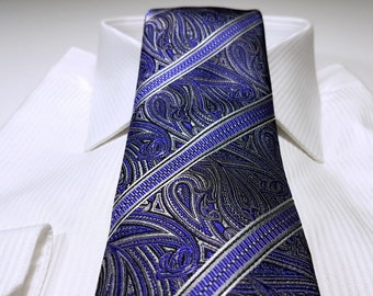 Silk Tie in Paisley Stripes with Regency Purple Charcoal Grey Black White