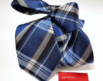 Silk Tie in Plaid with Midnight Navy Blue Canary Yellow and White