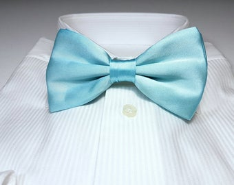 Large SPA mint green SILK Bow Tie with Gift Box