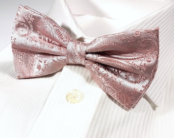 1f51e0ea8150 Bow Tie in BALLET pink Paisley on Silver (Tie and Pocket Square available)
