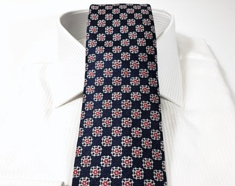 Silk Tie (3 inch) in Floral with Persimmon Orange White and Navy Blue